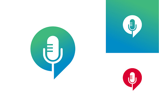Podcast Chat Logo Template Design Vector, Emblem, Design Concept, Creative Symbol, Icon