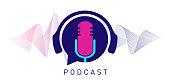istock Podcast concept illustration. Music, webinar, online training concept vector illustration 1210394126