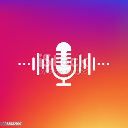 istock Podcast concept. Thin line icon. Abstract icon. Abstract gradient background. Modern sound wave equalizer. Vector illustration. 1283532997