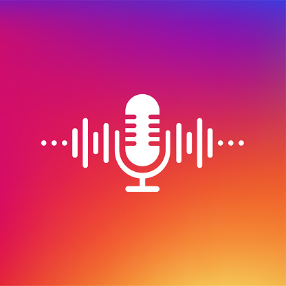 Podcast concept. Thin line icon. Abstract icon. Abstract gradient background. Modern sound wave equalizer. Vector illustration.