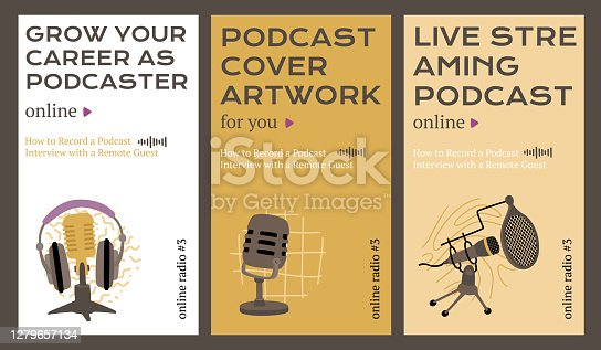 Podcast covers for social media stories 1080z1920 px each. Vector illustrations of microphones and headphones with text. Modern flat templates