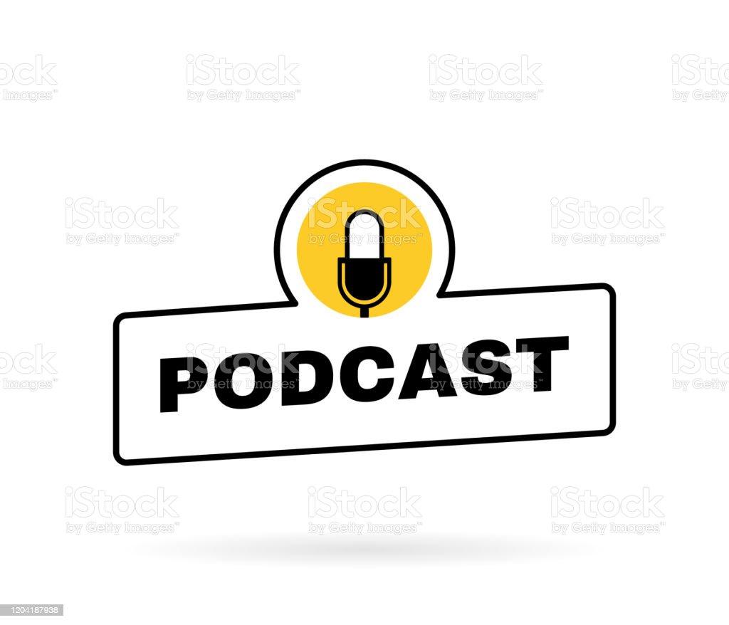 Podcast geometrische Abzeichen mit Mikrofon Emblem. Logo-Design. Vektor-Illustration - Lizenzfrei Abzeichen Vektorgrafik