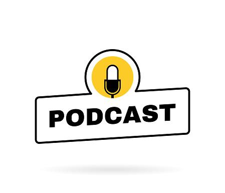 Podcast geometric badge with microphone emblem. Logo design. Vector illustration