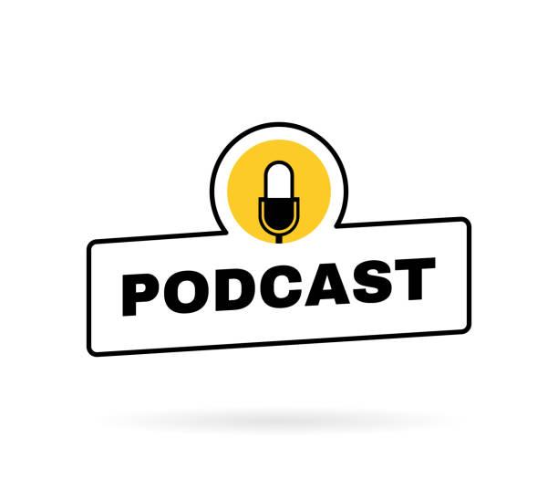 ilustrações, clipart, desenhos animados e ícones de crachá geométrico de podcast com emblema do microfone. design de logotipo. ilustração vetorial - podcast