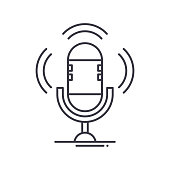 istock Podcast icon, linear isolated illustration, thin line vector, web design sign, outline concept symbol with editable stroke on white background. 1287159280