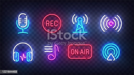istock Podcast icon neon. Podcast light signs. Sign boards, line art light banner. Vector Illustration 1221644453