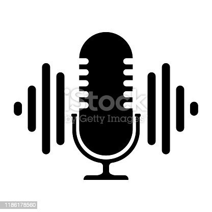 Podcast. Icon on a white background stamp, logo. Stock vector illustration