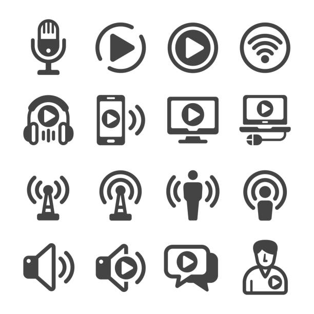 podcast icon set - podcast stock illustrations