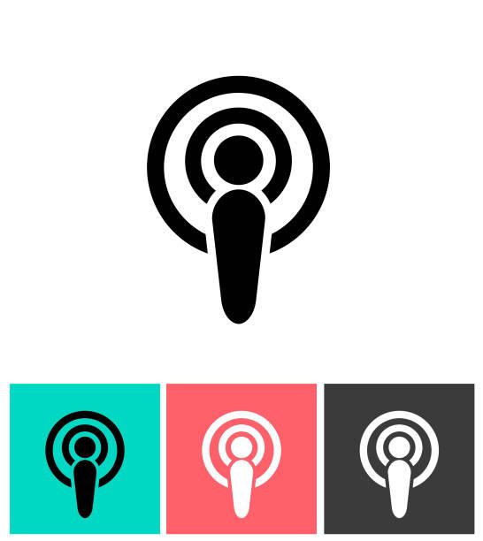 stockillustraties, clipart, cartoons en iconen met podcast-pictogram - podcast