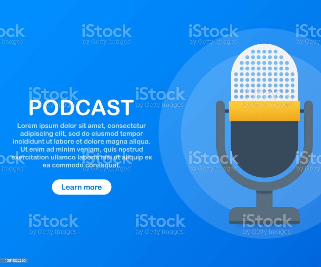 Podcast icon, vector symbol in flat isometric style isolated on color background. Vector illustration. Podcast icon, vector symbol in flat isometric style isolated on color background. Vector stock illustration. Announcement Message stock vector