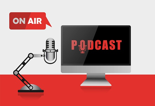 Podcast, illustration realistic monitor microphone live broadcast. Icon logo, broadcasting or streaming. Vector EPS10