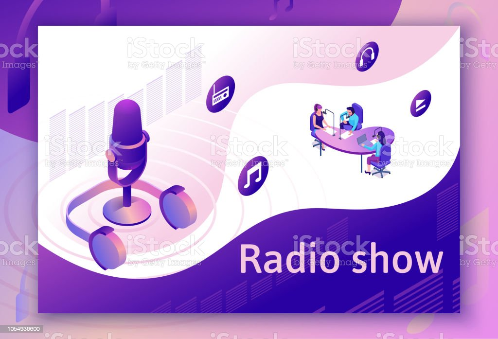 Podcast Isometric 3d Illustration Modern Music Radio Show Or Audio Blog  Concept Vector Landing Page Template With People Microphone Sound Studio