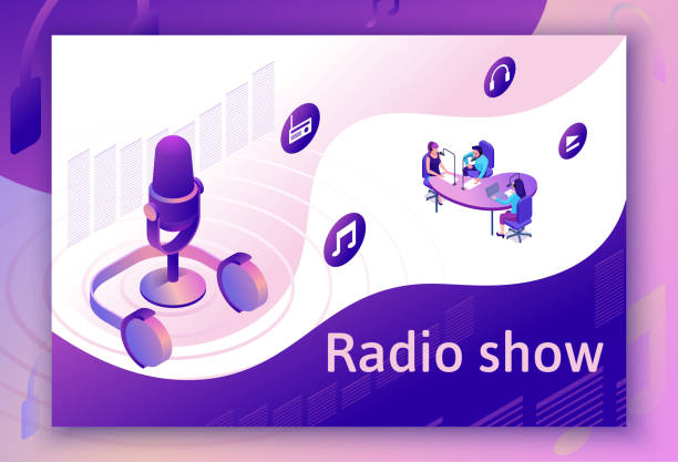 Podcast isometric 3d illustration, modern music radio show or audio blog concept, vector landing page template with people, microphone, sound studio interior in violet color vector art illustration