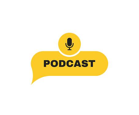 Podcast label on message bubbles with microphone emblem. Logo design. Vector illustration
