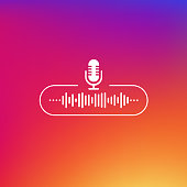 istock Podcast line button white colored on gradient background. Vector illustration. 1179997501