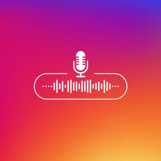 przycisk linii podcastu w kolorze białym na tle gradientu. ilustracja wektorowa. - muzyka stock illustrations