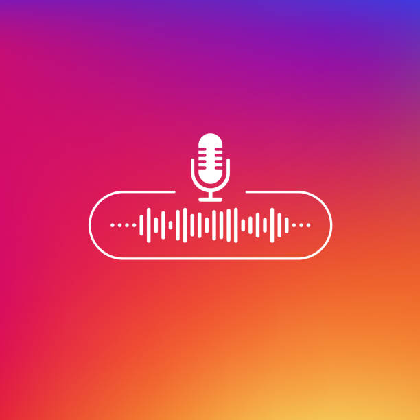 podcast line button white colored on gradient background. vector illustration. - hałas stock illustrations