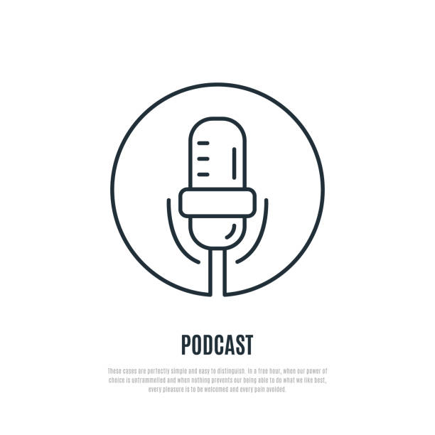 podcast line icon. microphone symbol. liner style. vector illustration. - record analog audio stock illustrations