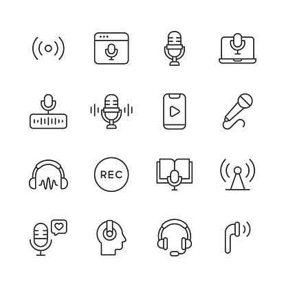 Podcast Line Icons. Editable Stroke. Pixel Perfect. For Mobile and Web. Contains such icons as Radio, Live Podcast, Microphone, Audio, Sound, Voice, Speaking, Entertainment, Influencer, Playing Music, Interview, Social Media, Headphones, Talk Show.