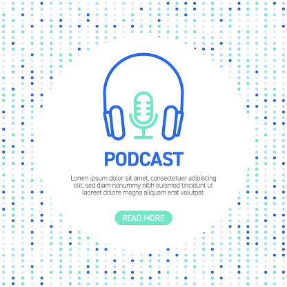 Podcast Line Icons. Simple Outline Symbol Icons with Pattern