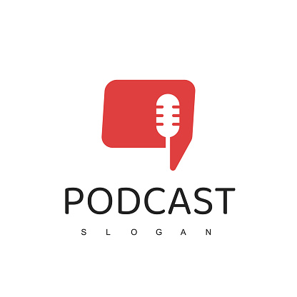 Podcast Logo design With Microphone and talk Symbol