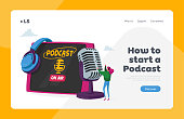 istock Podcast or Online Broadcasting, Livestream Landing Page Template. Tiny Female in Headset Speaking at Huge Microphone 1278695317