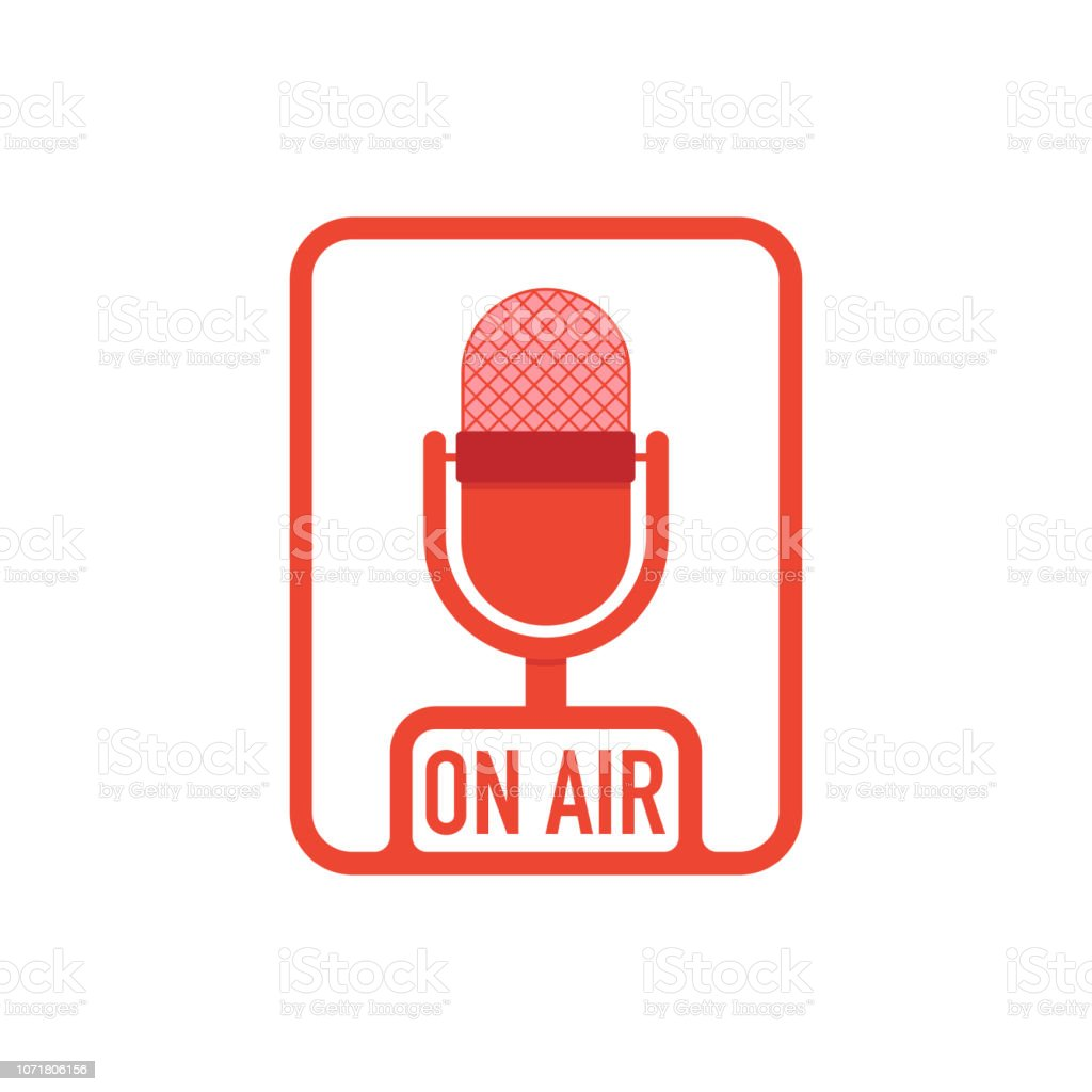 Podcast radio icon buttons set. Studio table microphone with...