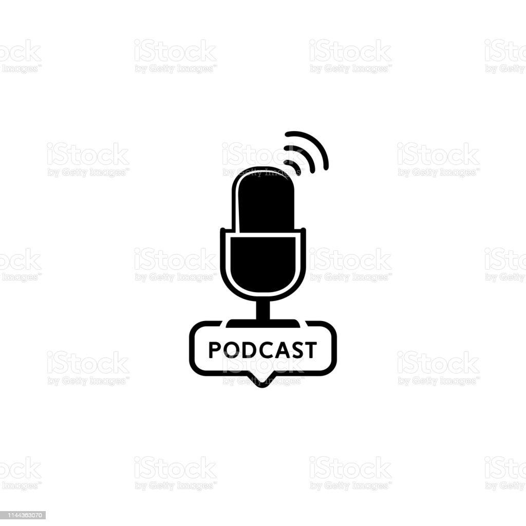 Podcast radio icon illustration. Studio table microphone with...