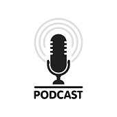istock Podcast radio icon illustration. Studio table microphone with broadcast text podcast. Webcast audio record concept logo 1154170008
