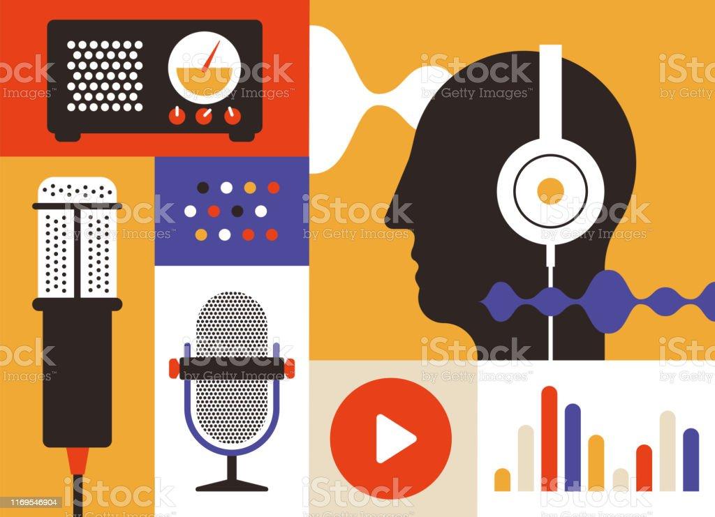 Podcast-Radio-Symbole - Lizenzfrei Design Vektorgrafik