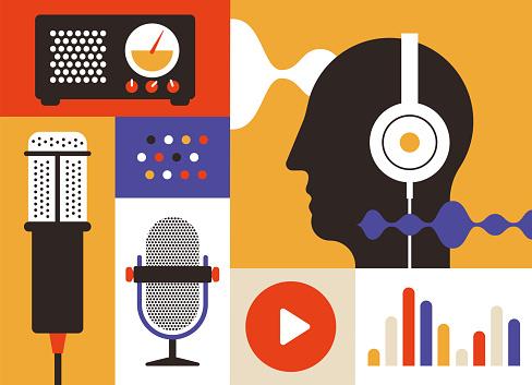 Podcastradiosymbole Stock Vektor Art und mehr Bilder von Design