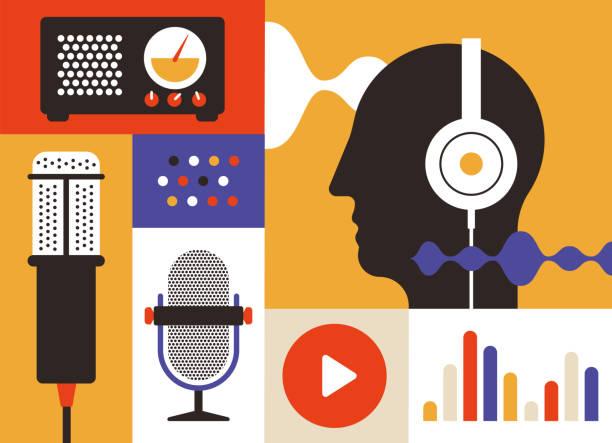 ilustrações, clipart, desenhos animados e ícones de ícones de rádio do podcast - podcast