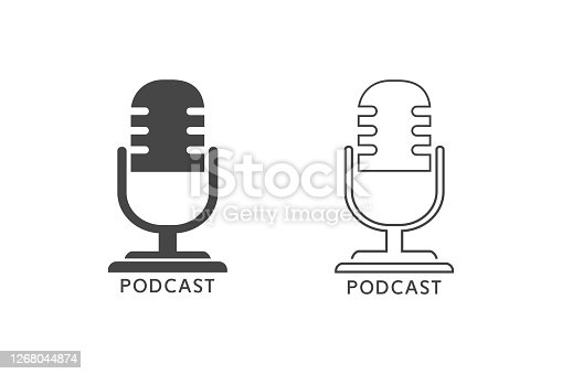 Podcast radio line icon set illustration. Studio table microphone with broadcast text podcast