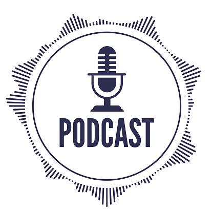 Podcast Round Design Audio Element