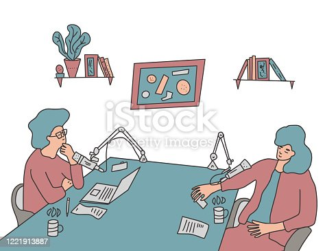 Women recording a show in a studio together. Two hosts sitting with microphones and laptops and making a podcast. Vector color illustartion.