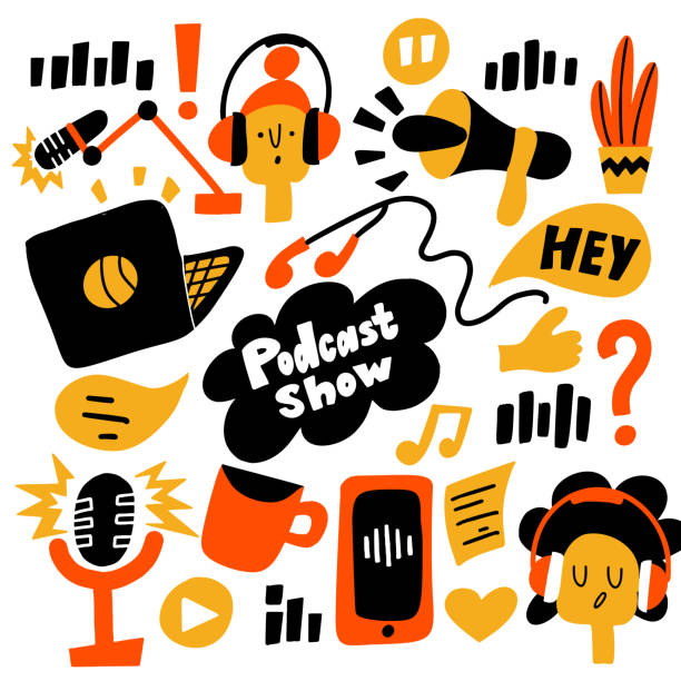 podcast show. vector flat cartoon illustration of different podcast elements. - podcast stock illustrations