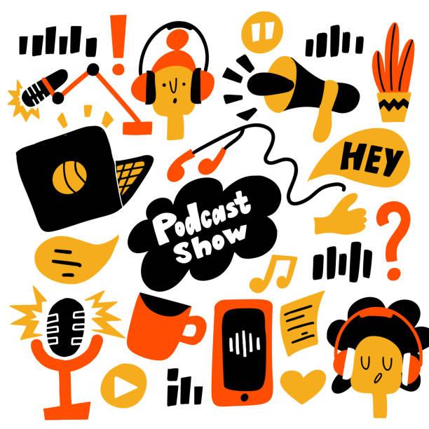 ilustrações, clipart, desenhos animados e ícones de podcast show. vector a ilustração lisa dos desenhos animados de elementos diferentes do podcast. - podcast