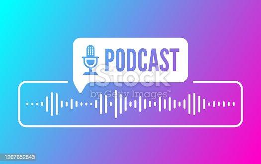 istock Podcast Sound Audio Wave Design 1267652843