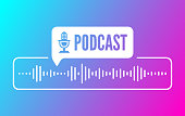 istock Podcast Sound Audio Wave Design 1267652843
