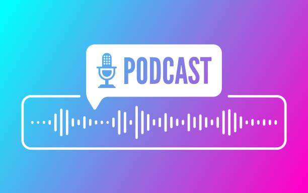 stockillustraties, clipart, cartoons en iconen met podcast sound audio wave design - podcast