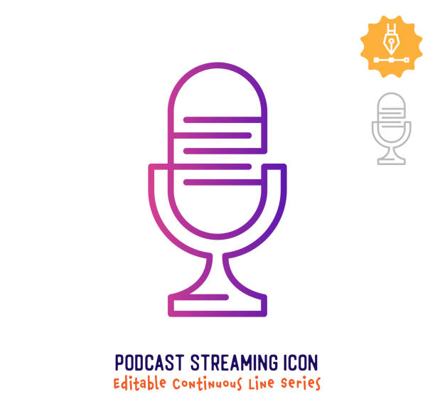 stockillustraties, clipart, cartoons en iconen met podcast streaming continuous line editable stroke line - podcast