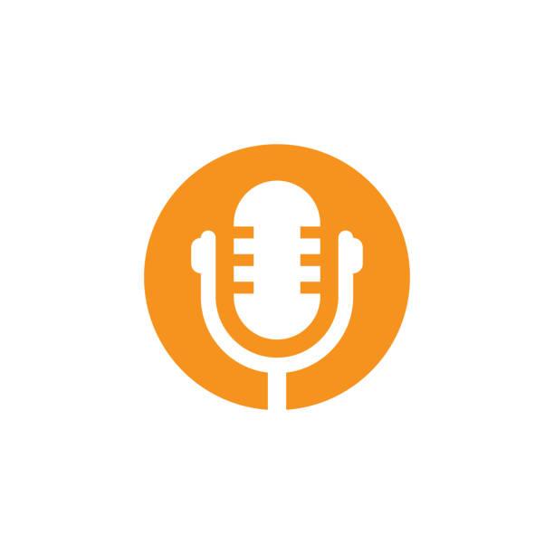 ilustrações, clipart, desenhos animados e ícones de falar de podcast radio som logotipo ou modelo de design do ícone vector - podcast