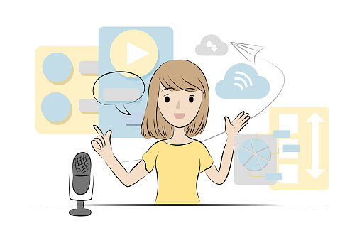 podcast theme concept illustration . woman is talk on her broadcasting program.
