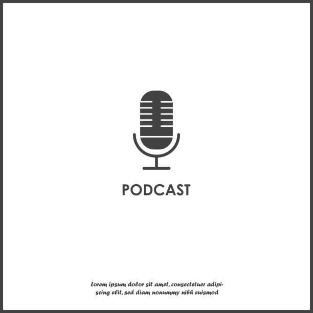 ilustrações, clipart, desenhos animados e ícones de ícone do vetor do podcast no fundo isolado branco.  camadas agrupadas para fácil edição de ilustração. - podcast