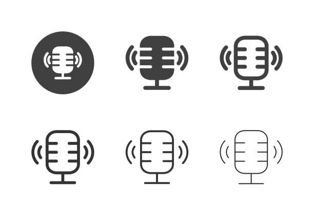 stockillustraties, clipart, cartoons en iconen met podcasting icons - multi-serie - podcast