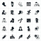 A set of podiatry icons. The icons show different foot conditions as well as podiatrists who treat these conditions.