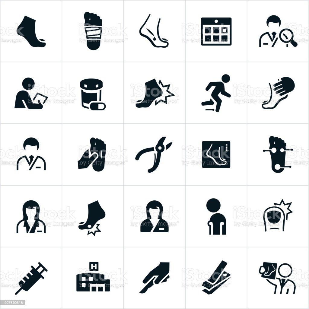 Podiatry Icons vector art illustration
