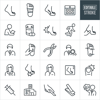 A set of podiatry icons that include editable strokes or outlines using the EPS vector file. The icons include a foot, bandaged foot, injured foot, bleeding foot, medical check-up, doctors appointment, medication, hurt heel, podiatrist, male and female podiatrist, cut on foot, nail clippers, nail scissors, nurse, foot infection, foot x-ray, ingrown toenail, syringe, hospital, surgery and other related icons.