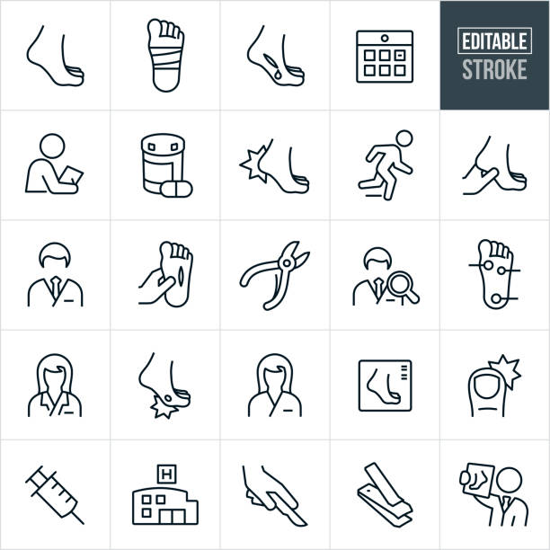 Podiatry Thin Line Icons - Editable Stroke A set of podiatry icons that include editable strokes or outlines using the EPS vector file. The icons include a foot, bandaged foot, injured foot, bleeding foot, medical check-up, doctors appointment, medication, hurt heel, podiatrist, male and female podiatrist, cut on foot, nail clippers, nail scissors, nurse, foot infection, foot x-ray, ingrown toenail, syringe, hospital, surgery and other related icons. podiatry stock illustrations