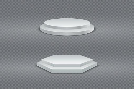 Podium 3D. White round and hexagonal two-stage podium, pedestal or platform on transparent background